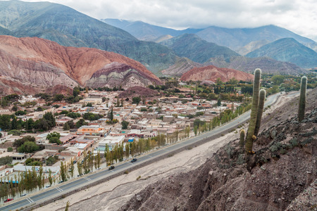 Cerro del los Siete Colores (Hill of Seven Colors) over Purmamarca village (Quebrada de Humahuaca valley), Argentina