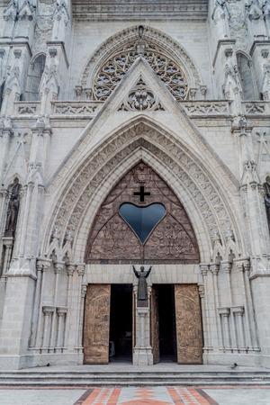 vow: Entrance of the Basilica of the National Vow in Quito, Ecuador