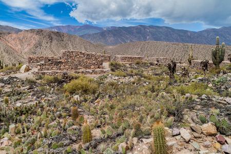pre: Ruins of pre-Columbian fortification Pucara near Tilcara village in Quebrada de Humahuaca valley, Argentina Stock Photo