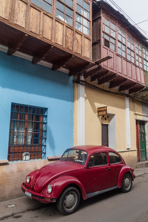 POTOSI, BOLIVIA - APRIL 19, 2015: Classic Volkswagen Beetle parked in a center of Potosi, Bolivia Editorial