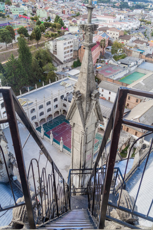 vow: Stairs leading from the tower of the Basilica of the National Vow in Quito, Ecuador