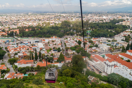 SALTA, ARGENTINA - APRIL 9, 2015: Aerial view of Salta from Teleferico (cable car), Argentina Banco de Imagens