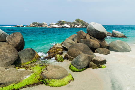 marta: Huge boulders on a beach in Tayrona National Park, Colombia Stock Photo