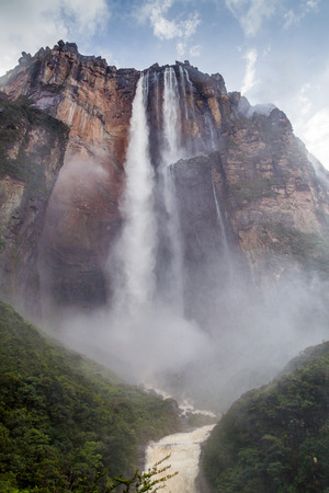 reserve: Angel Falls (Salto Angel), the highest waterfall in the world (978 m) during rainy period, Venezuela Stock Photo