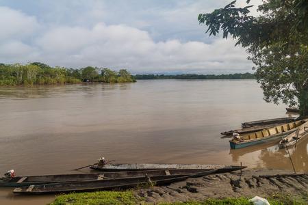 dugout: Dugout canoe called Peke Peke on a river Napo, Peru
