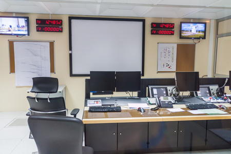 control centre: KOUROU, FRENCH GUIANA - AUGUST 4, 2015: Vega rocket control center in Ariane Launch Area 3 building at Centre Spatial Guyanais (Guiana Space Centre) in Kourou, French Guiana
