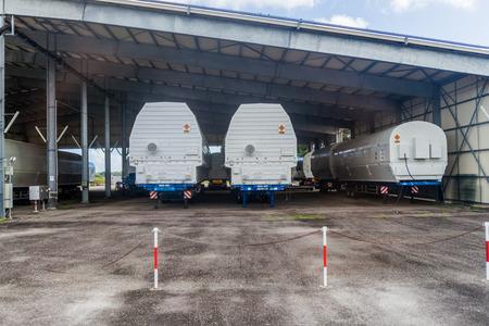 spatial: KOUROU, FRENCH GUIANA - AUGUST 4, 2015: Segments of Soyuz rockets at Soyuz Launch Complex at Centre Spatial Guyanais (Guiana Space Centre) in Kourou, French Guiana