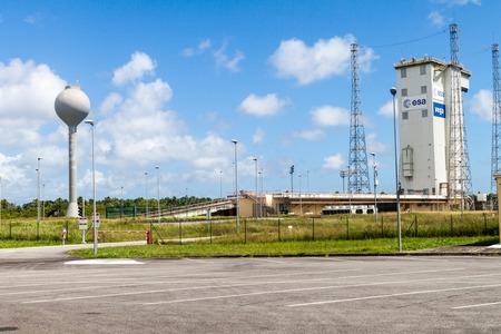 spatial: KOUROU, FRENCH GUIANA - AUGUST 4, 2015: Ariane Launch Area 1, launch pad of Vega rockets, at Centre Spatial Guyanais (Guiana Space Centre) in Kourou, French Guiana