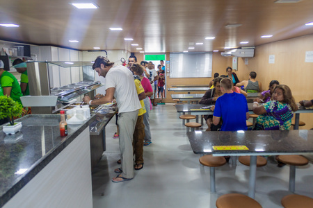 AMAZON, BRAZIL - JUNE 22, 2015: Dining room at the boat Diamante which plies river Amazon between Tabatinga and Manaus, Brazil. Editorial