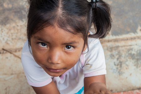 PANTOJA, PERU - JULY 12, 2015: Child living in small village Napo in amazonian jungle, Peru