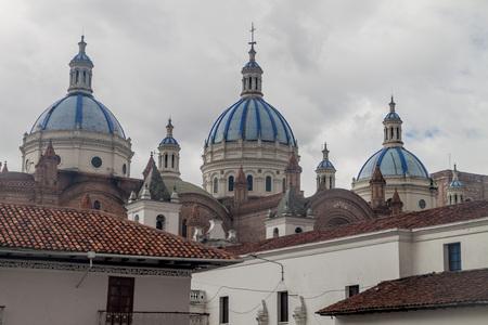 colonial church: Towers of New Cathedral (Catedral de la Inmaculada Concepcion), Cuenca, Ecuador Stock Photo