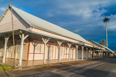 Wooden buildings in St Laurent du Maroni, French Guiana. Editorial