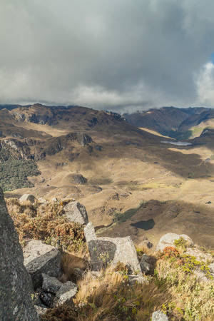 Aerial view of a landscape in National Park Cajas, Ecuador Stock Photo