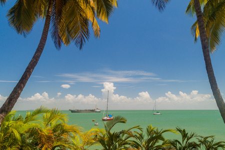 Yachts anchored by Ile Royale, one of the islands of  Iles du Salut (Islands of Salvation) in French Guiana. Stock Photo