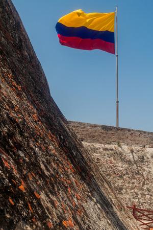 barajas: Castillo de San Felipe de Barajas castle in Cartagena de Indias, Colombia. Colombian flag present.