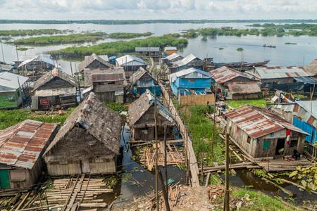 shantytown: IQUITOS, PERU - JULY 20, 2015: Shantytown in Iquitos, Peru. Stock Photo