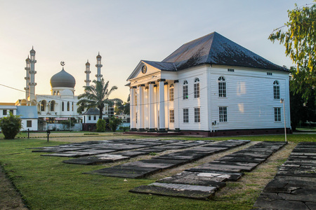 shalom: Neveh Shalom Synagogue and Mosque Kaizerstraat in Paramaribo, capital of Suriname.