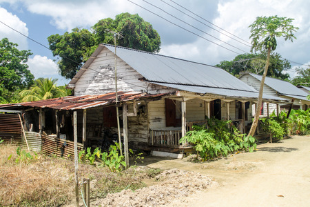 suriname: Wooden houses at Peperpot plantation in Suriname Editorial
