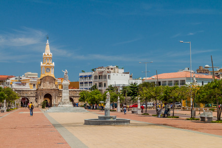 CARTAGENA DE INDIAS, COLOMBIA - AUG 28, 2015: Muelle de los Pegasos and Clock tower in Cartagena. Editorial