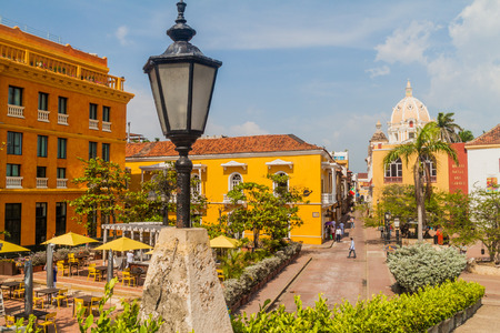 CARTAGENA DE INDIAS, COLOMBIA - AUG 28, 2015: Plaza Santa Teresa square in the center of Cartagena.
