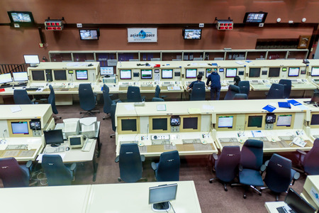 control centre: KOUROU, FRENCH GUIANA - AUGUST 4, 2015: Ariane 5  rocket control center in Ariane Launch Area 3 building at Centre Spatial Guyanais (Guiana Space Centre) in Kourou, French Guiana Stock Photo