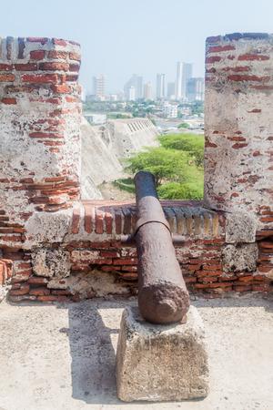 barajas: Cannon at the Castillo de San Felipe de Barajas castle in Cartagena de Indias, Colombia. Stock Photo