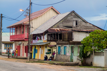 laurent: ST LAURENT DU MARONI, FRENCH GUIANA - AUGUST 4, 2015: Old wooden buildings in St Laurent du Maroni, French Guiana.