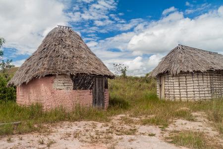 Simple houses in an indigenous village in Gran Sabana region of Venezuela