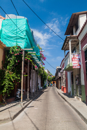 CARTAGENA DE INDIAS, COLOMBIA - AUG 28, 2015: View of the street in center of Cartagena.