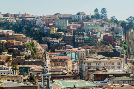 pablo neruda: Colorful houses on hills of Valparaiso, Chile