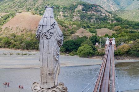 Virgin statue at Puente de Occidente (Western Bridge) in Santa Fe de Antioquia, Colombia