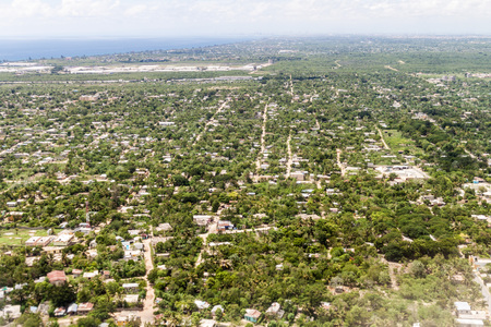 chica: Aerial view of Boca Chica town in Dominican Republic