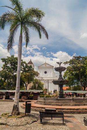 antioquia: Catedral Basilica de la Inmaculada Concepcion cathedral on Plaza Mayor Simon Bolivar square in Santa Fe de Antioquia, Colombia. Editorial