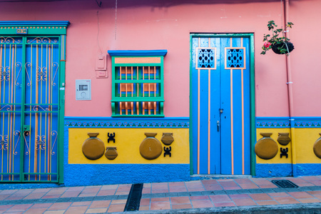 Colorful decorated house in Guatape village, Colombia