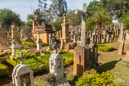 BARICHARA, COLOMBIA - SEPTEMBER 17, 2015: Cemetery with sandstone tombstones in Barichara village, Colombia