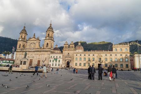 BOGOTA, COLOMBIA - SEPTEMBER 23, 2015: Bolivar square in the center of Bogota. Cathedral also present.