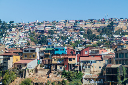 Colorful houses on hills of Valparaiso, Chile