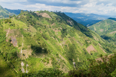 View over valley near Salto de Bordones waterfall, Colombia