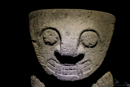 Ancient statues at archeological site in San Agustin, Colombia