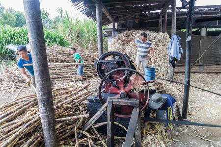 panela: OBANDO, COLOMBIA - SEPTEMBER 14, 2015: Small sugar cane mill producing panela (unrefined whole cane sugar), in Obando near San Agustin, Colombia Editorial