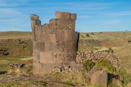 funerary: Ruins of funerary towers in Sillustani, Peru Stock Photo