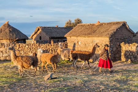 adobe wall: PUNO, PERU - MAY 14, 2015: Small settlement near Puno, Peru. Old women with lamas present.