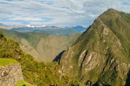 urubamba valley: Snow capped peaks and urubamba valley as seen from Machu Picchu ruins, Peru