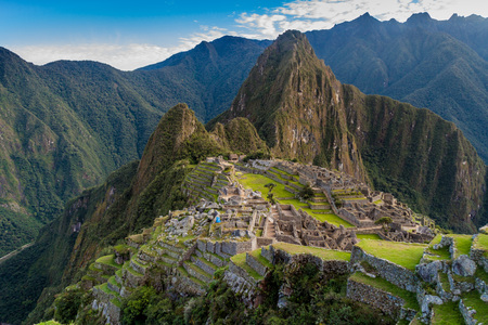 mach: Aerial view of famous Mach Picchu ruins, Wayna Picchu mountain in the bacground.