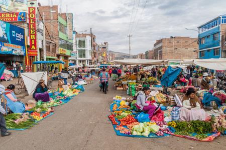 PUNO, PERU - MAY 16, 2015: View of a street market in Puno, Peru.