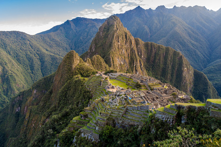 Aerial view of famous Machu Picchu ruins, Wayna Picchu mountain in the bacground. Stock Photo