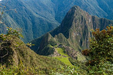 urubamba valley: Aerial view of Machu Picchu ruins, Peru