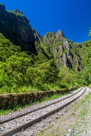 urubamba valley: Railway track in Urubamba river valley near Aguas Calientes village, Peru