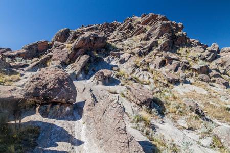 Rugged rocks at Horca del Inca, ancient astronomical observatory in Copacabana, Bolivia.
