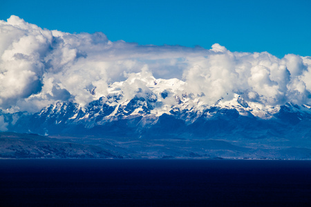 Cordillera Real mountain range behind Titicaca lake, Bolivia